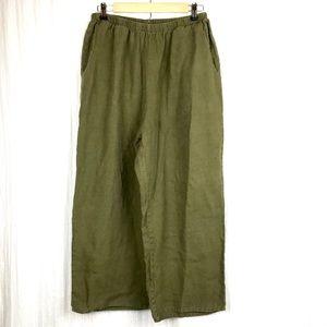 Flax Linen Olive Green Pants